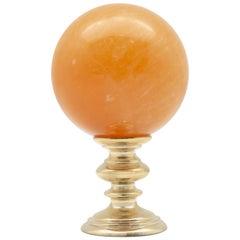 Brass Mounted Orange Calcite Sphere Small