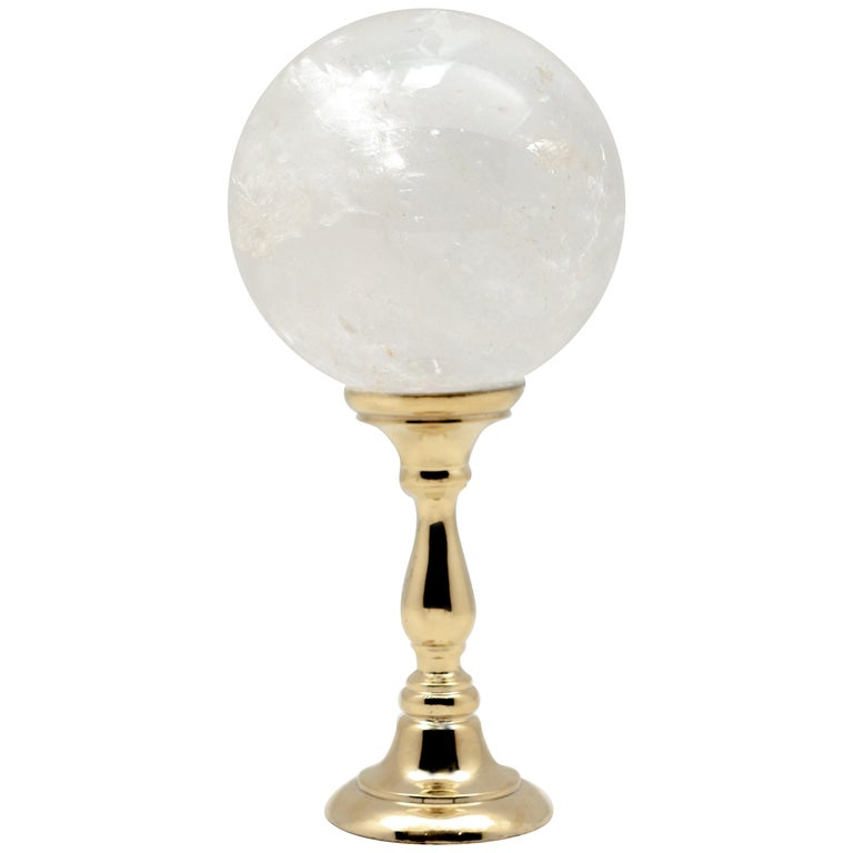 Brass Mounted Rock Crystal Sphere Large For Sale