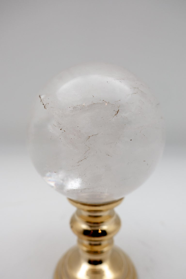Other Brass-Mounted Rock Crystal Sphere Small For Sale