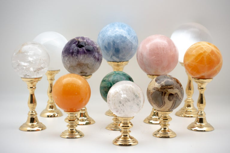 Brass-Mounted Rock Crystal Sphere Small In Good Condition For Sale In New York, NY