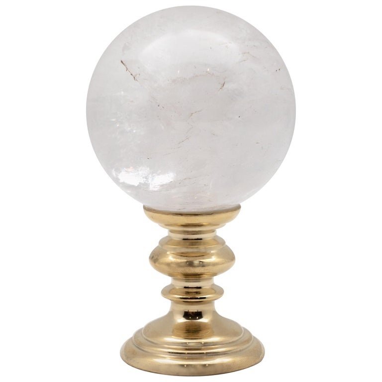 Brass-Mounted Rock Crystal Sphere Small For Sale