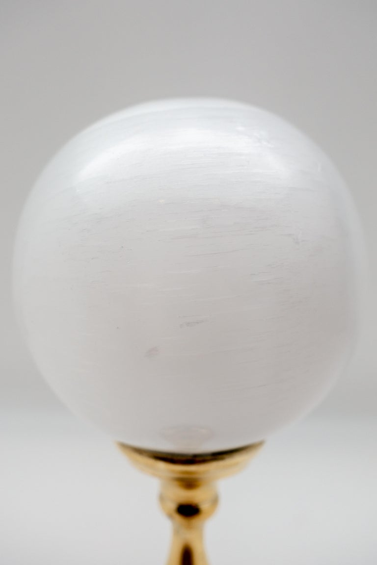 Other Brass Mounted Selenite Sphere Medium For Sale