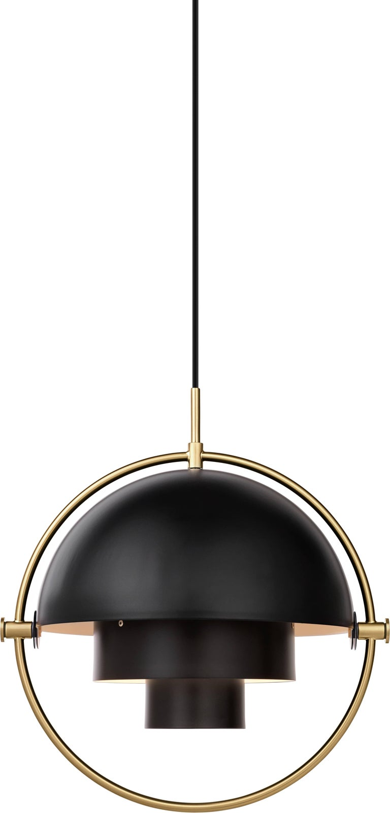 Brass multi-light pendant, Louis Weisdorf  Dimensions: 36 x 36 x 36 cm Material: Brass Designer: Louis Weisdorf Produced by Gubi in Denmark  The Multi-Lite pendant embraces the golden era of Danish design with its characteristic shape of two