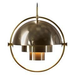 Brass Multi-Lite Pendant by Louis Weisdorf for Lyfa, Denmark, 1972