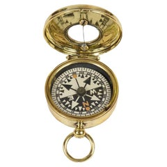 1920 Antique Brass Pocket Nautical Compass Fully Functional English Manufacture