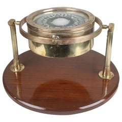 Brass Nautical Lifeboat Compass on Gimbaled Stand, English, 1940s