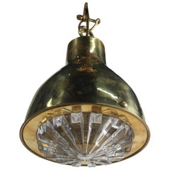 Brass Nautical Pendant Ceiling Light with Fresnel Lens Shade, 1970s