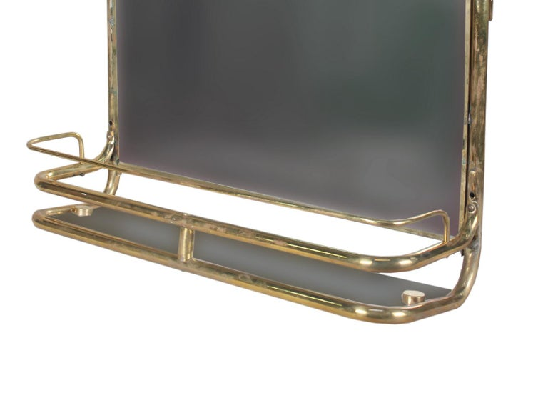 Industrial Brass Nautical Wall Mirror from Ship's Stateroom, C. 1970's
