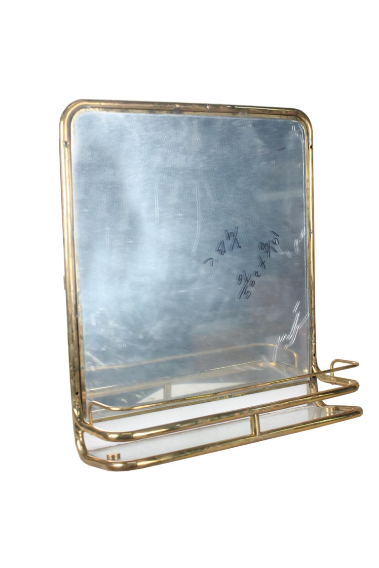 20th Century Brass Nautical Wall Mirror from Ship's Stateroom, C. 1970's