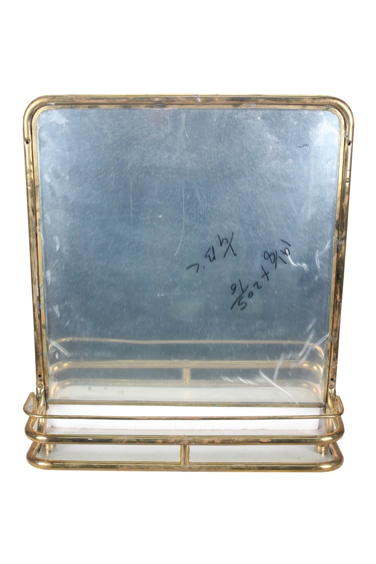 Brass Nautical Wall Mirror from Ship's Stateroom, C. 1970's 1
