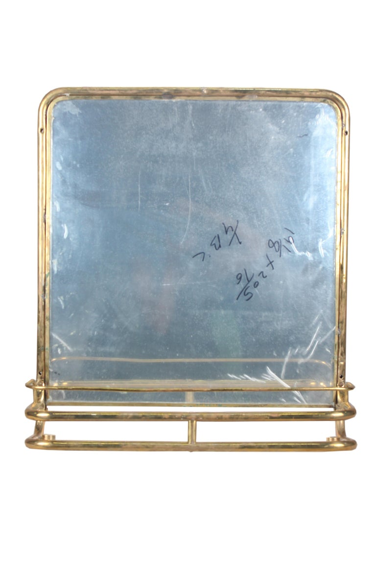 Brass Nautical Wall Mirror from Ship's Stateroom, C. 1970's 2