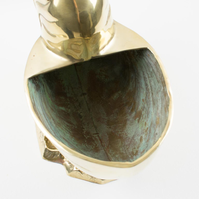 Metal Brass Nautilus Sea Shell Wine Cooler Bottle Holder Vase Planter Cachepot For Sale