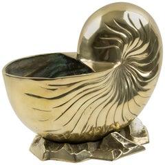 Brass Nautilus Sea Shell Wine Cooler Bottle Holder Vase Planter Cachepot