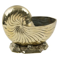 Brass Nautilus Sea Shell Wine Cooler Bottle Holder Vase Planter Cachepot