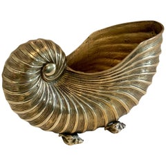 Brass Nautilus Shell Planter Cachepot with Shell Feet Details
