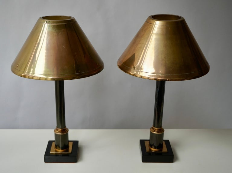 Belgian Brass Neoclassical Style Column Table Lamps, 1970s, Set of 2 For Sale
