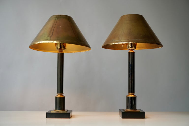 Brass Neoclassical Style Column Table Lamps, 1970s, Set of 2 In Good Condition For Sale In Antwerp, BE