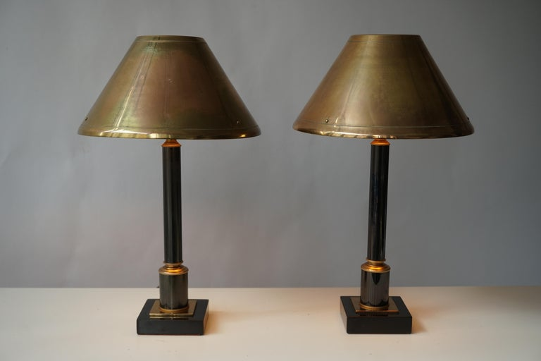 20th Century Brass Neoclassical Style Column Table Lamps, 1970s, Set of 2 For Sale