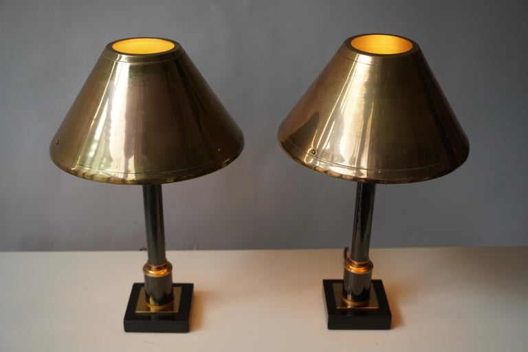 Brass Neoclassical Style Column Table Lamps, 1970s, Set of 2 For Sale 1