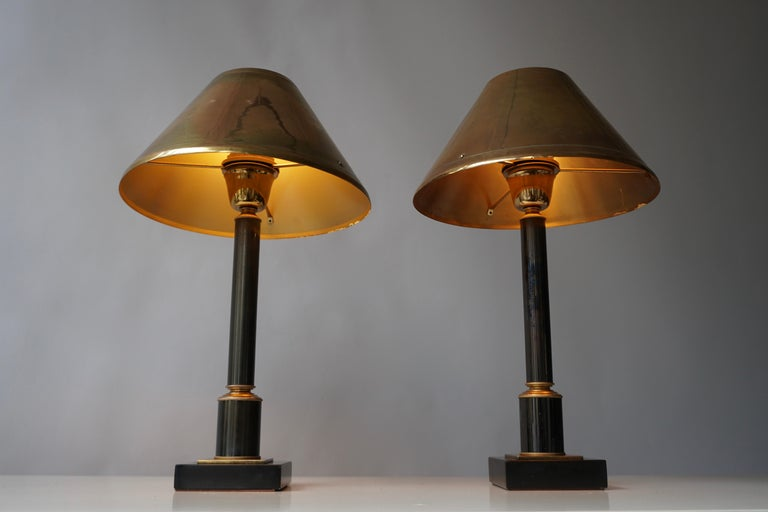 Brass Neoclassical Style Column Table Lamps, 1970s, Set of 2 For Sale 2