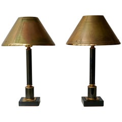 Brass Neoclassical Style Column Table Lamps, 1970s, Set of 2