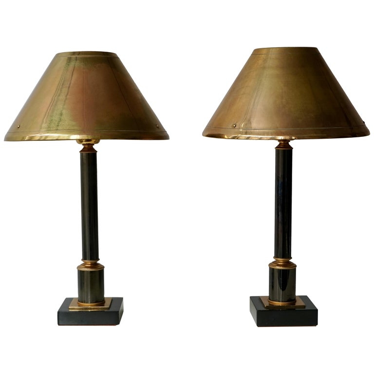 Brass Neoclassical Style Column Table Lamps, 1970s, Set of 2 For Sale