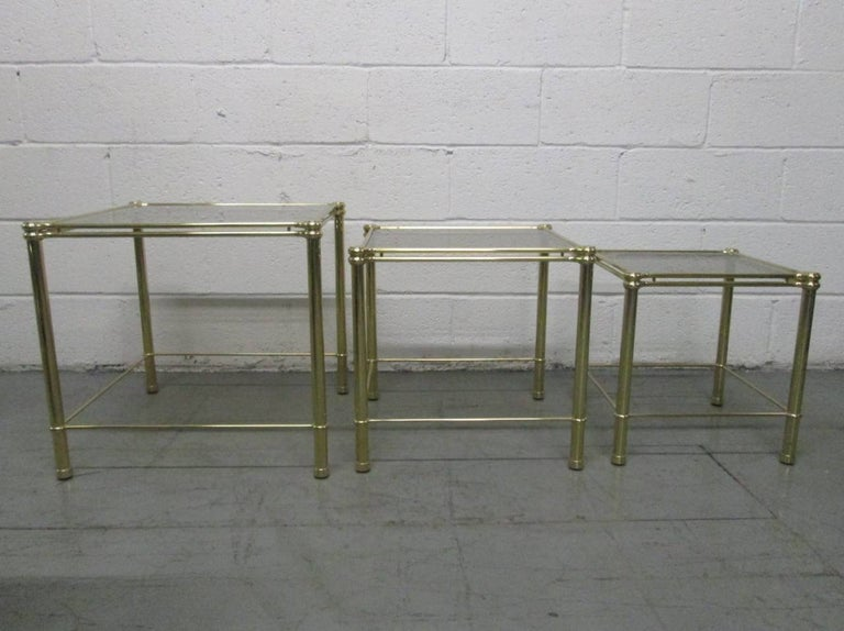 Mid-Century Modern Brass Nesting Tables Attributed to Maison Raphael For Sale