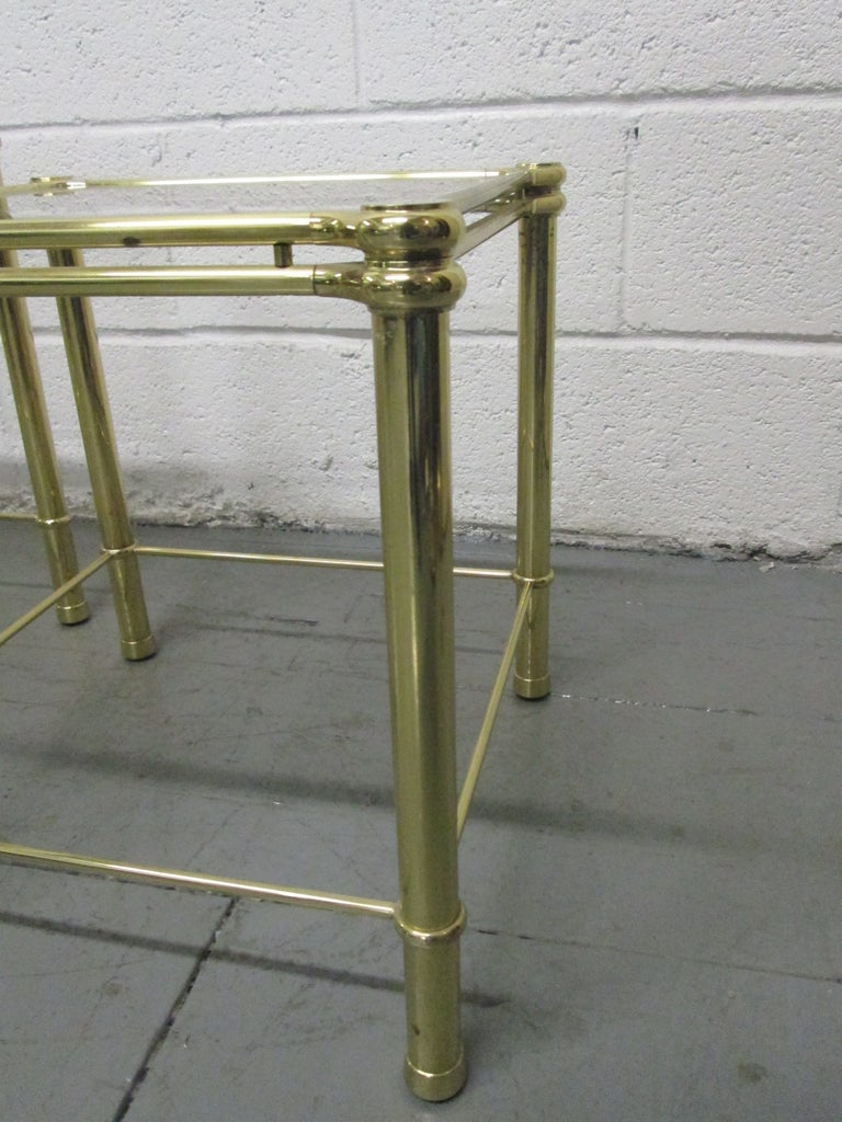 Brass Nesting Tables Attributed to Maison Raphael In Good Condition For Sale In New York, NY