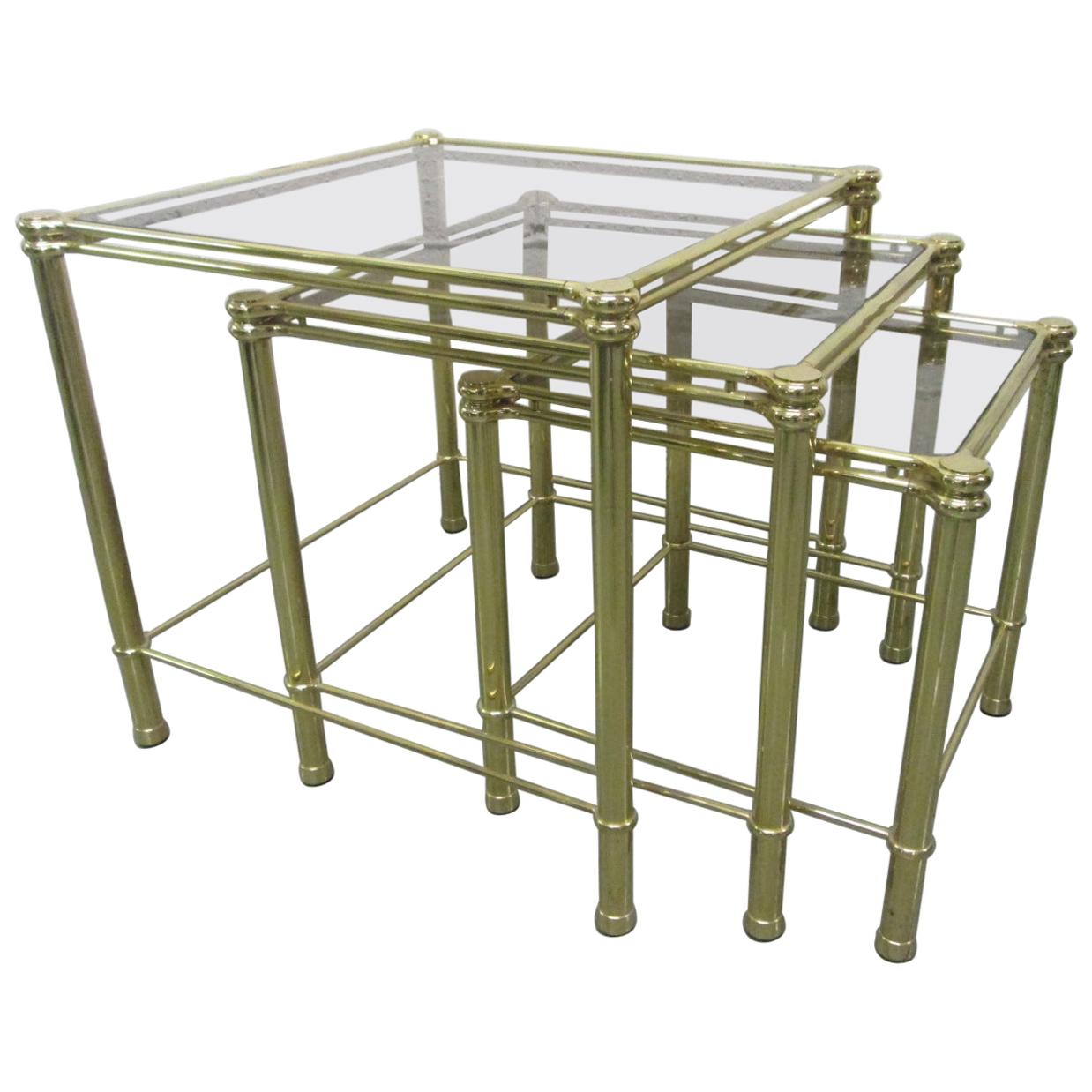 Brass Nesting Tables Attributed to Maison Raphael