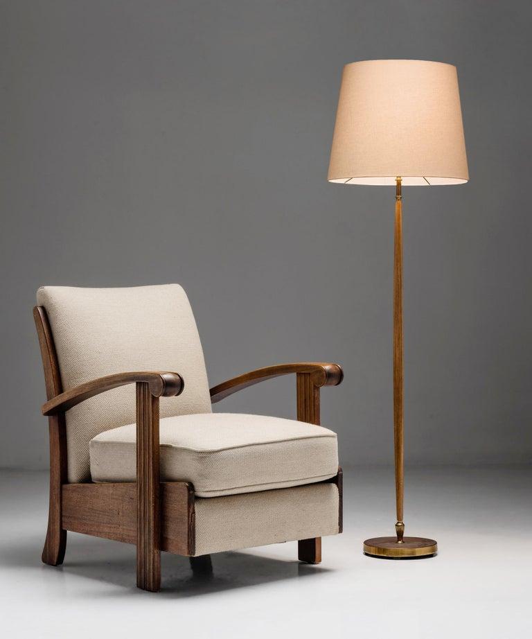 English Brass & Oak Floor Lamp, England circa 1950