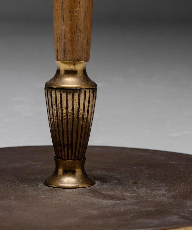 20th Century Brass & Oak Floor Lamp, England circa 1950