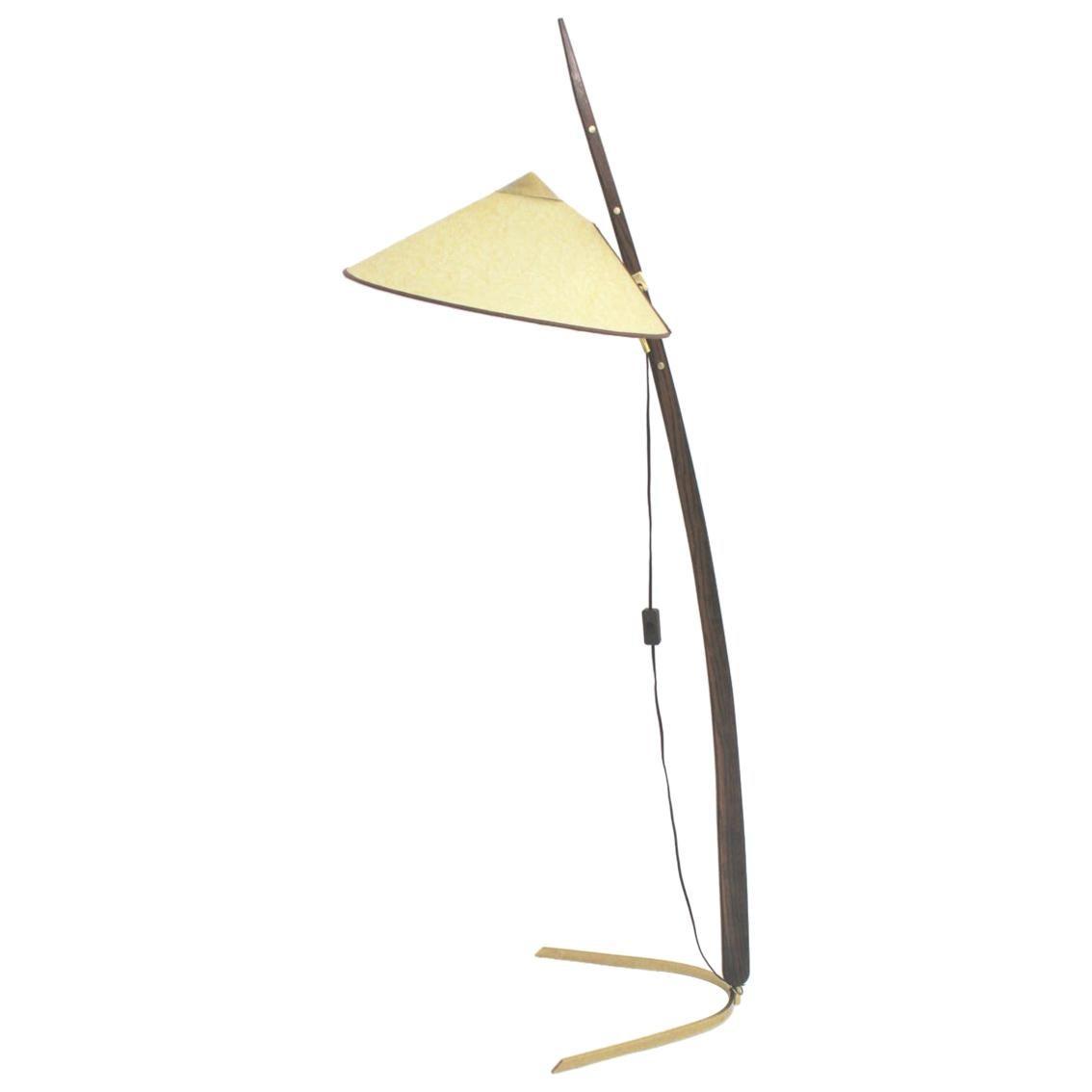 Brass Oak Mid Century Modern Vintage Floor Lamp Rupert Nikoll Austria circa 1950