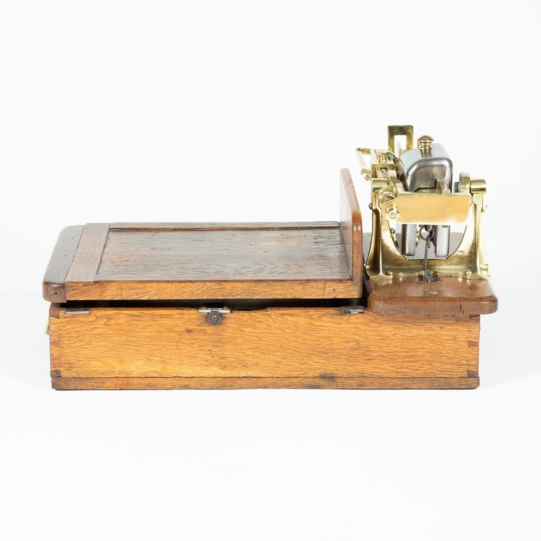 Edwardian Brass and Oak Weighting Scales by Avery of Birmingham For Sale