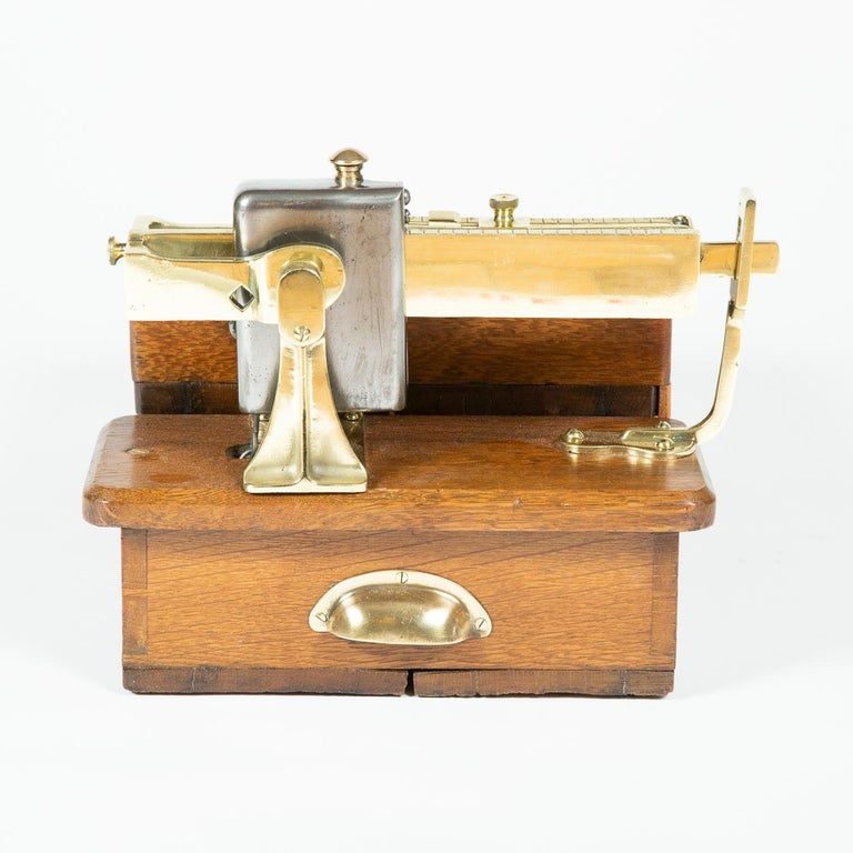 English Brass and Oak Weighting Scales by Avery of Birmingham For Sale