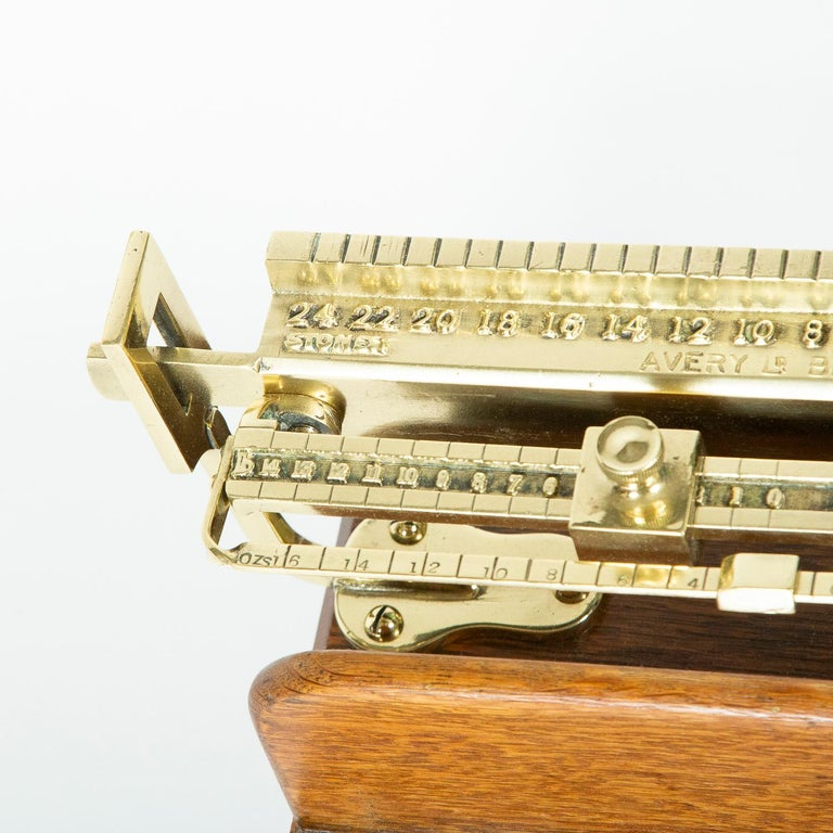 20th Century Brass and Oak Weighting Scales by Avery of Birmingham For Sale