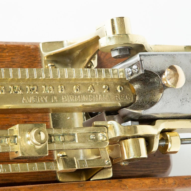 Brass and Oak Weighting Scales by Avery of Birmingham For Sale 1