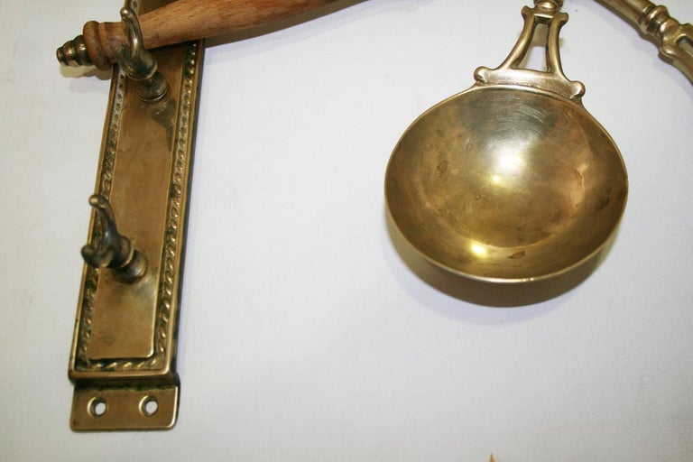 Brass Old Kitchen Utensils with from a Hanging Bar, Early 20th Century For Sale 9