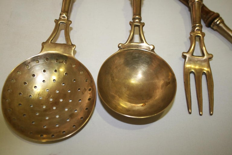 Brass Old Kitchen Utensils with from a Hanging Bar, Early 20th Century For Sale 10