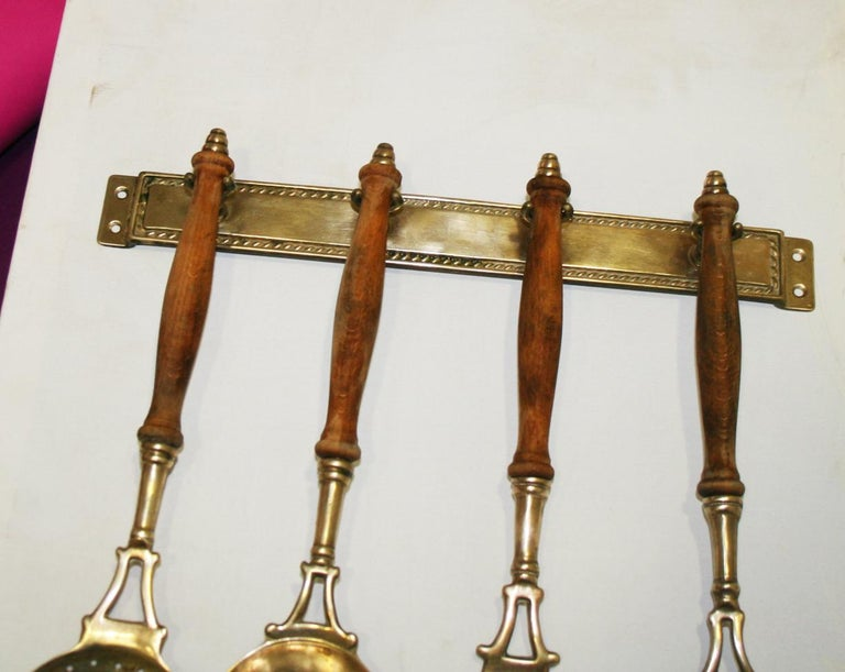 Brass Old Kitchen Utensils with from a Hanging Bar, Early 20th Century For Sale 11