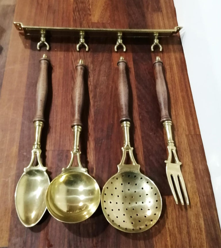 Art Nouveau Brass Old Kitchen Utensils with from a Hanging Bar, Early 20th Century For Sale