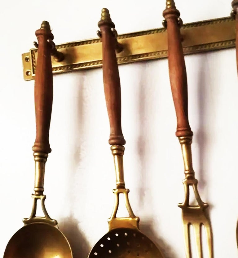 Brass Old Kitchen Utensils with from a Hanging Bar, Early 20th Century For Sale 3