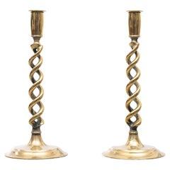 Brass  Open Barley Twist Candlesticks