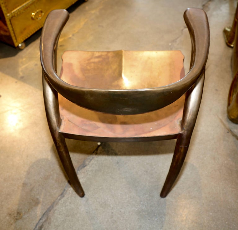 20th Century Brass or Bronze Handcrafted Chair For Sale