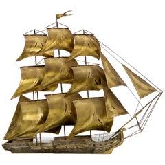 Brass or Bronze Sheet Metal Wall Art Sculpture of a Sail Boat