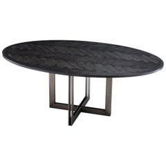 Brass Oval Black Dining Table