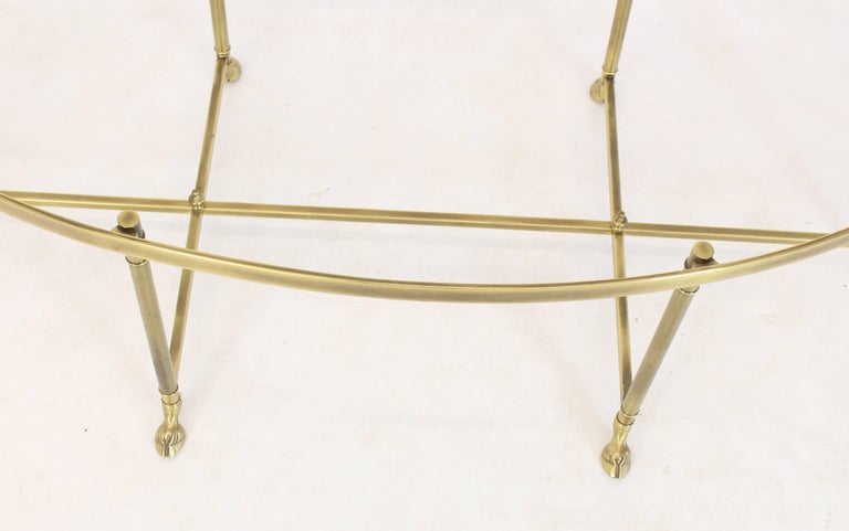 Italian Brass Oval Hoof Feet Coffee Table Thick Bevelled Glass For Sale