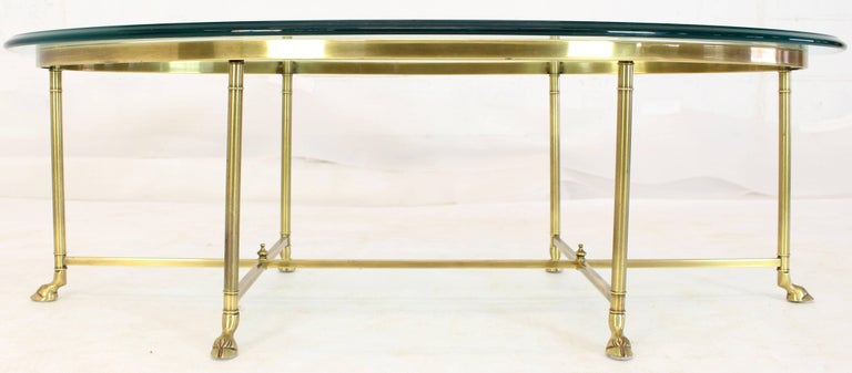 Brass Oval Hoof Feet Coffee Table Thick Bevelled Glass For Sale 1