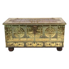 Brass Overlay Zanzibar Blanket Chest