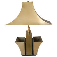 Brass Pagoda Table Lamp with Double Planter
