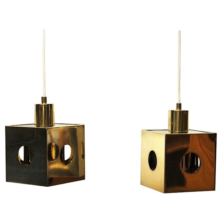Brass Pair of Ceiling and Window Pendants Scandinavia, 1960s